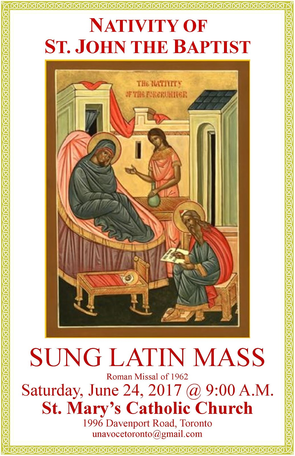 Latin Mass in Toronto for St. John the Baptist