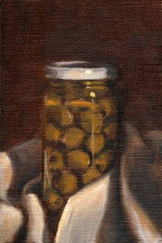 Oil painting of a jar with a white lid containing green olives, and the base wrapped in a white tea towel.