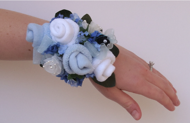 heart pears baby shower sock corsage wristlets