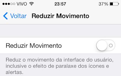 Reduzir Movimento - iOS 7