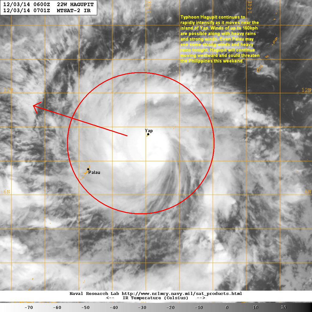 latest satellite image shows the central dense overcast moving very near the island of yap winds of up to 160kph are possible over the next 1 to 2 hours
