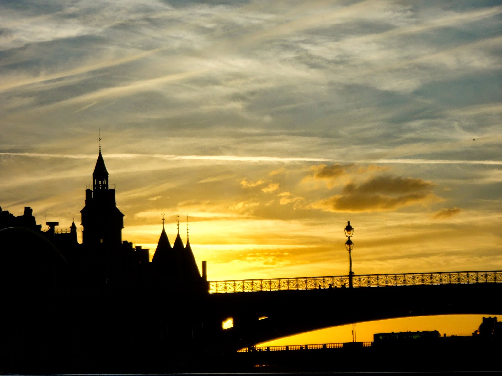 La Conciergerie at sunset from the River Seine, Paris