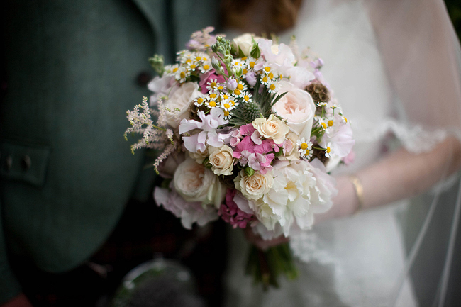 {Lillian and Leonard Wedding Photography}  daisy and sweetpea bouquet