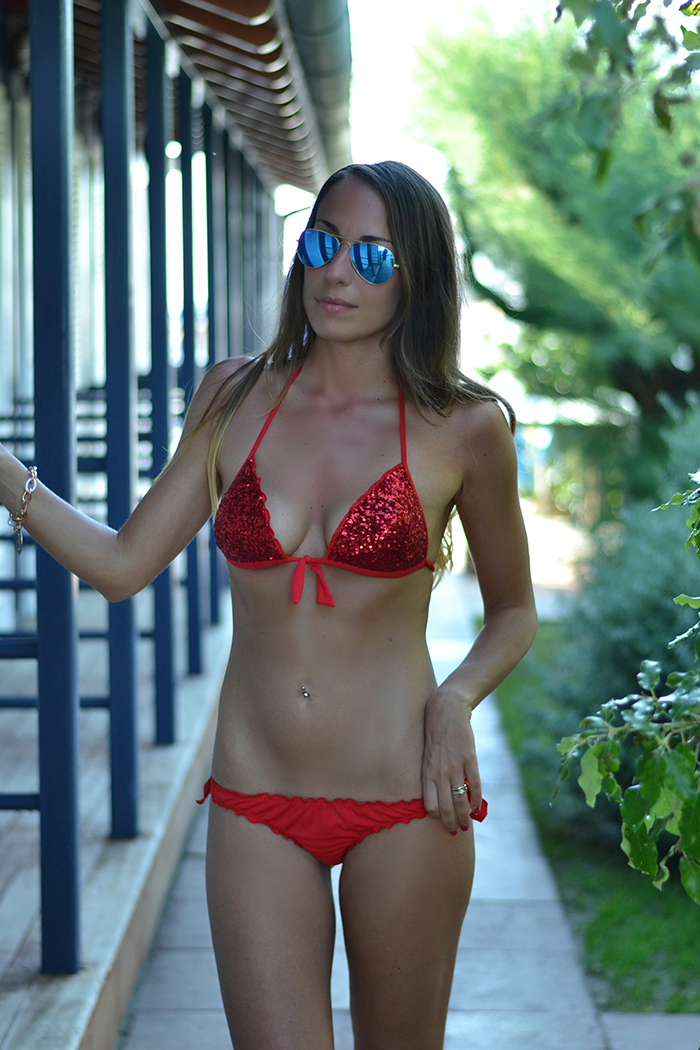 red sequin bikini