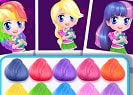 My Little Pony Hairstyles is a free online game for girls on GamesGirlGames.com. This cute girl is the biggest My Little Pony fan and she loves collecting all kind of posters and different My little Pony themed objects and decorations. Alice loves to wear colorful clothes and now she would like to have a new My Little Pony themed hairstyle. Could you help her?