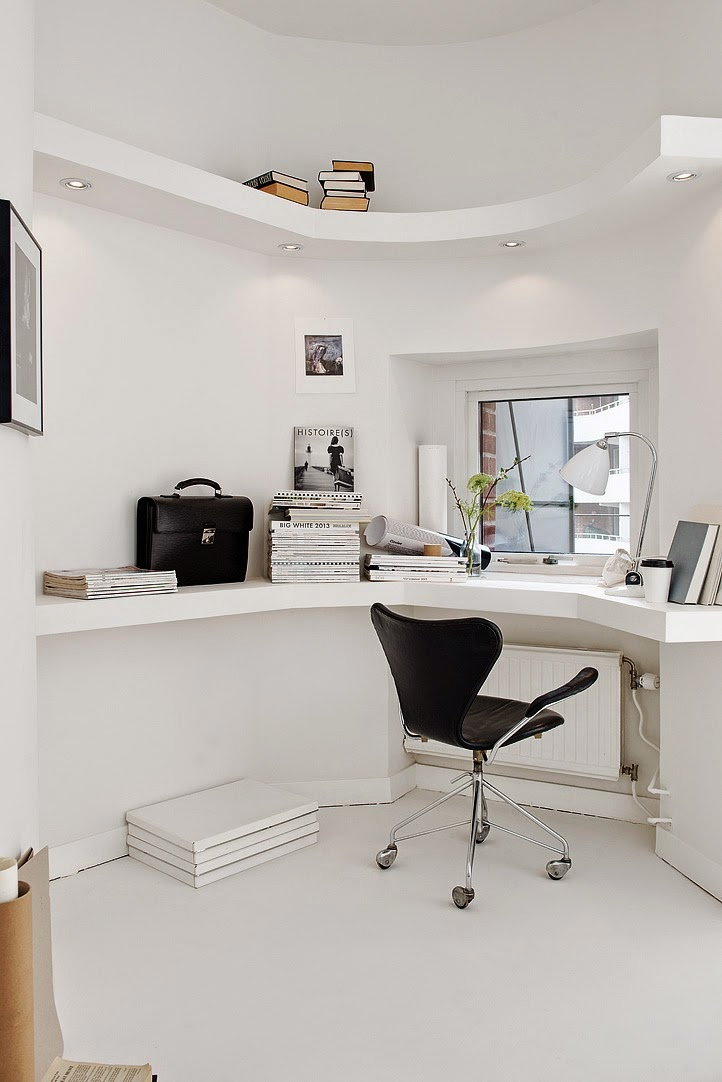 Scandinavian interior design, Scandinavian white home office, aloveforgrey blog