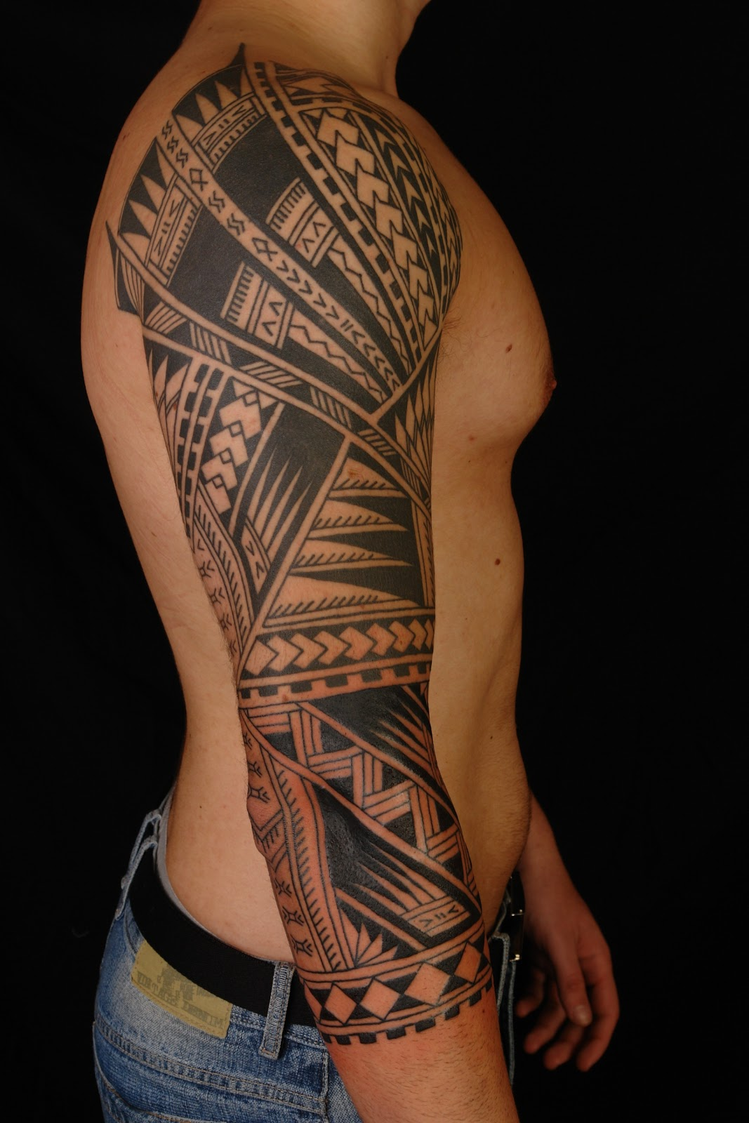 Polynesian Arm Sleeve Tattoo