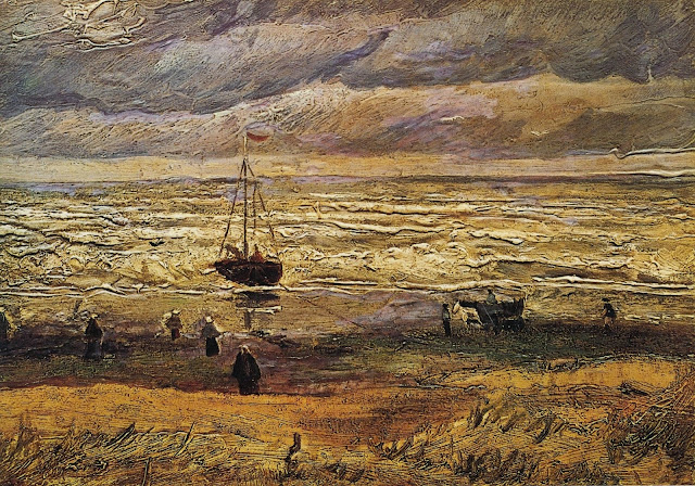 "Picture of the painting ""View of the Sea at Scheveningen"" by Vincent van Gogh, 1882, was stolen in 2002 from the Van Gogh Museum in Amsterdam, the Netherlands."