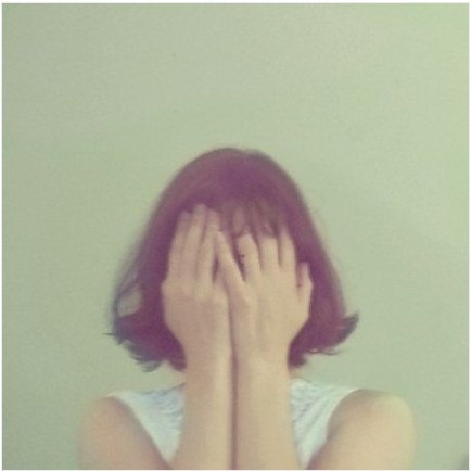 portrait, emotional, girl covering face with hands