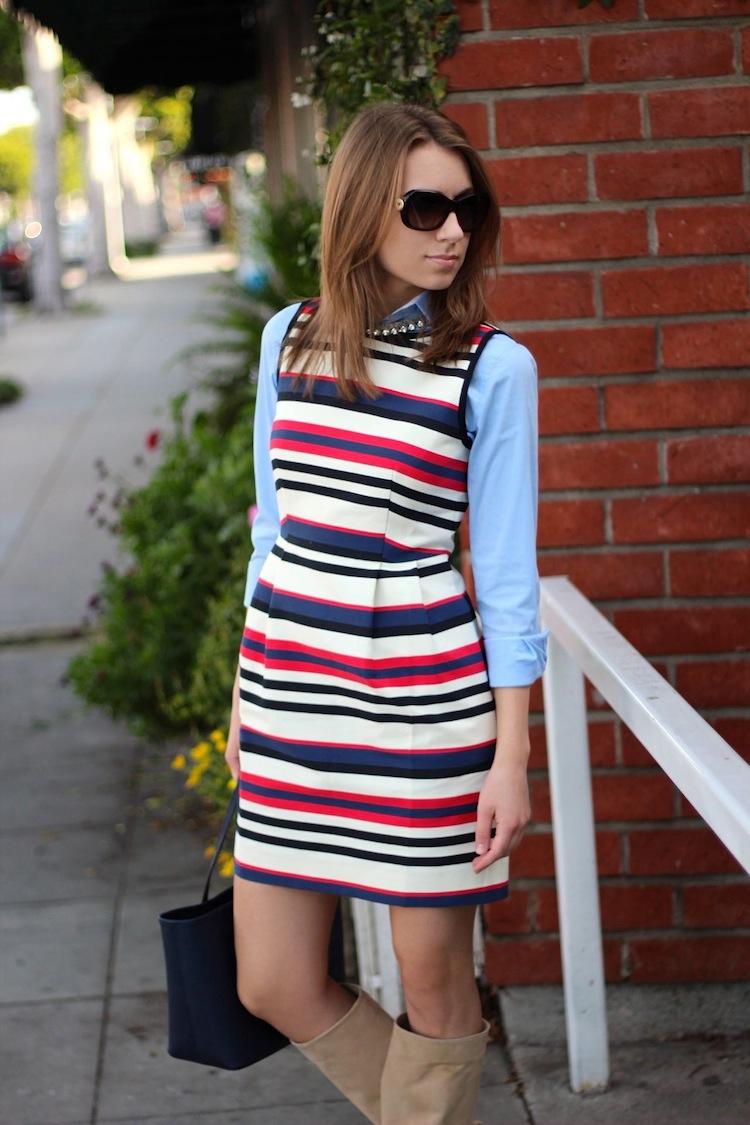 868acb1a971 Shirt  Zara (similar here). Dress  J.Crew. Necklace  H M. Boots  R Renzi  (last seen here). Bag  Michael Kors.