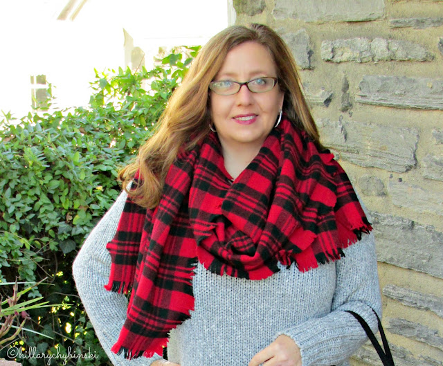 Red and Black Plaid Kate Spade Blanket Scarf