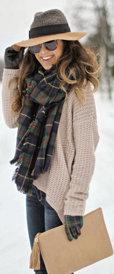 Amazing Combination for winter: Tartan Scarf with Gloves , Woolen Cardigan , Blue Jeans and Amazing Hat with Handbag