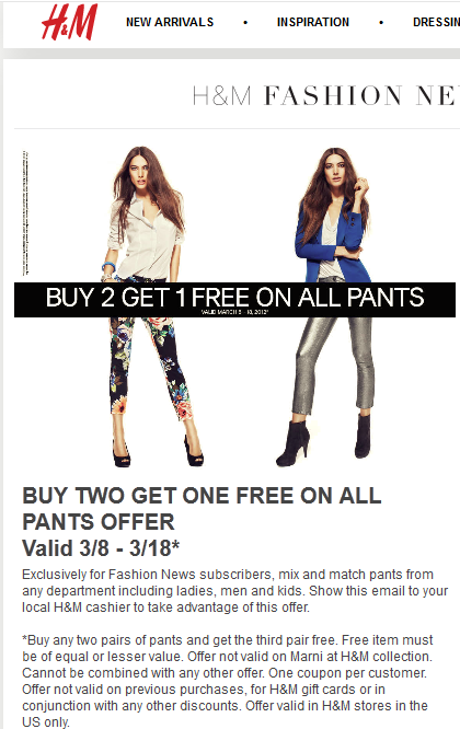 H&m deals coupons