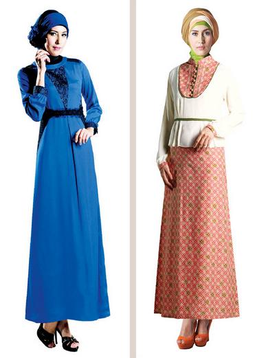 Gambar Gaun Muslim Kombinasi Brokat