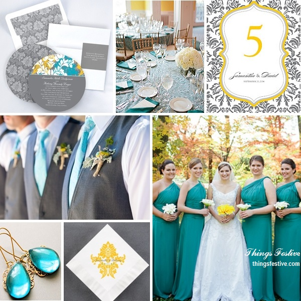 Teal, Yellow & Gray Wedding Color Story | Things Festive Weddings ...