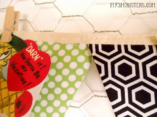 Vintage Valentine Fabric Bunting Tutorial at my3monsters.com