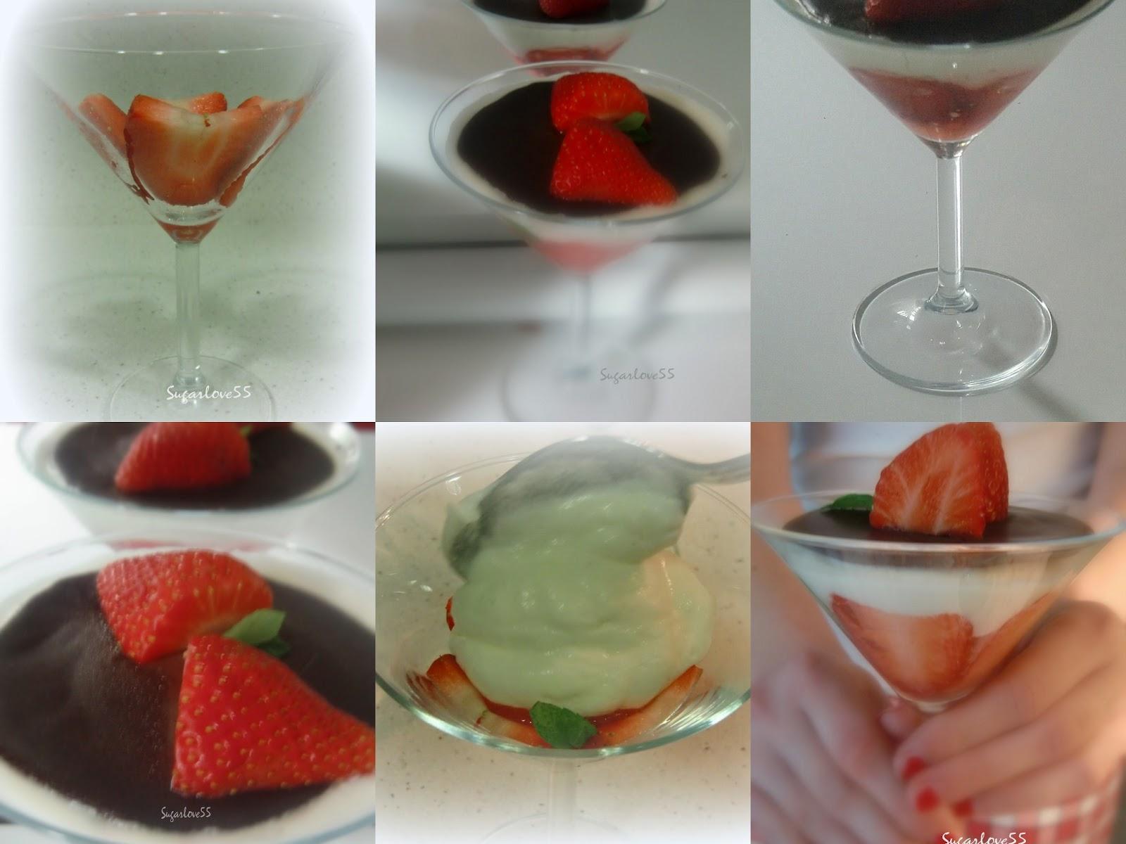 Sugarlove55 mousse de yogurt y fresas con tapa de chocolate - Mouse de yogurt ...
