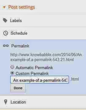 Custom permalink in blogger