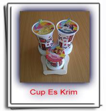 Cup Es Krim Plastik Paper Motif Kartun Lengkap Tutup Kertas Sendok Kayu