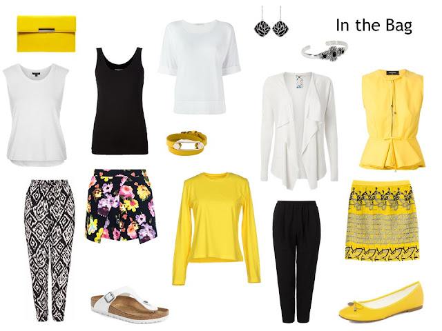 "travel capsule wardrobe ""Whatever's Clean 13"" in black, yellow and white"