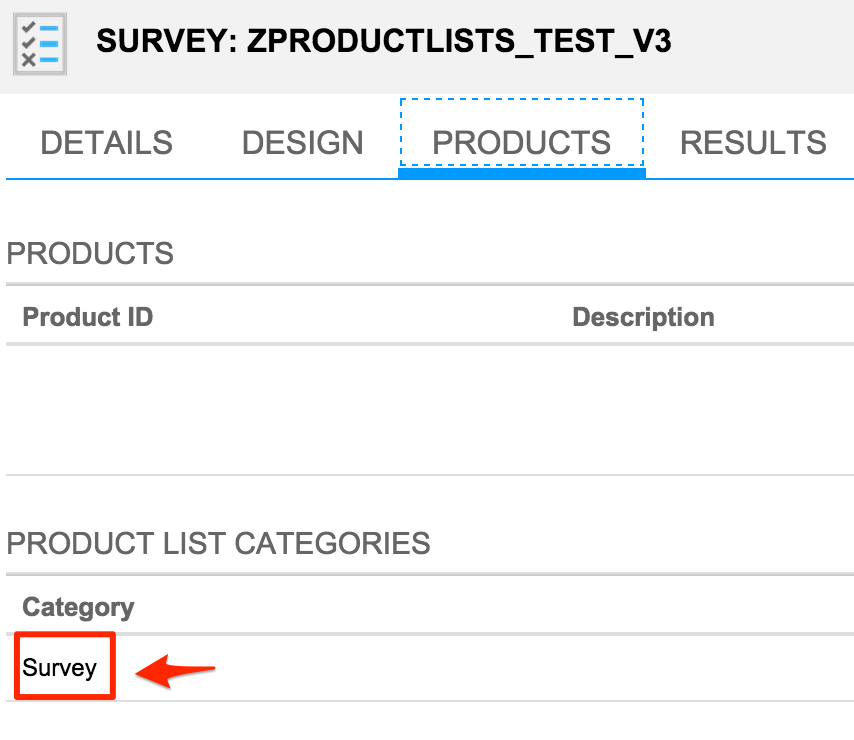 surveys with product lists determined based on target groups acorel