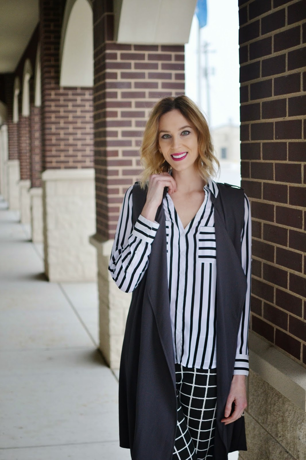 black and white, windowpane, print mixing, long vest, grey heels