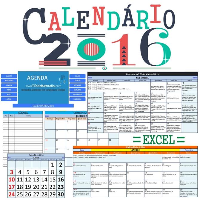 Baixe as versões dos calendários de 2016 editados em planilhas eletrônicas