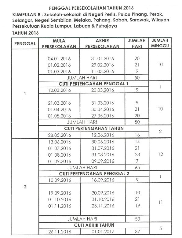 Kalendar Cuti Sekolah 2016 Malaysia b