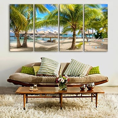 Reloj de pared Lienzo Playa Tropical