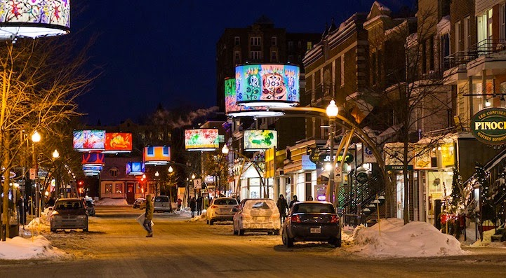 Dazzling Lampshades Beautify Quebec City's Cartier Avenue
