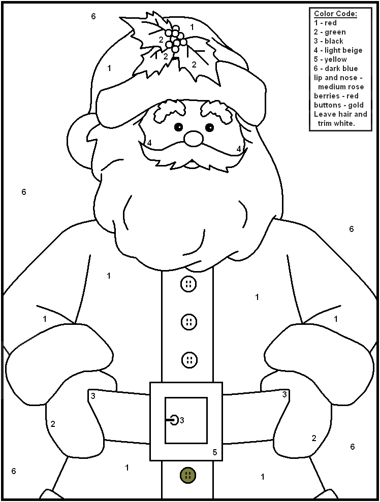 christmas coloring pages by number - photo#9