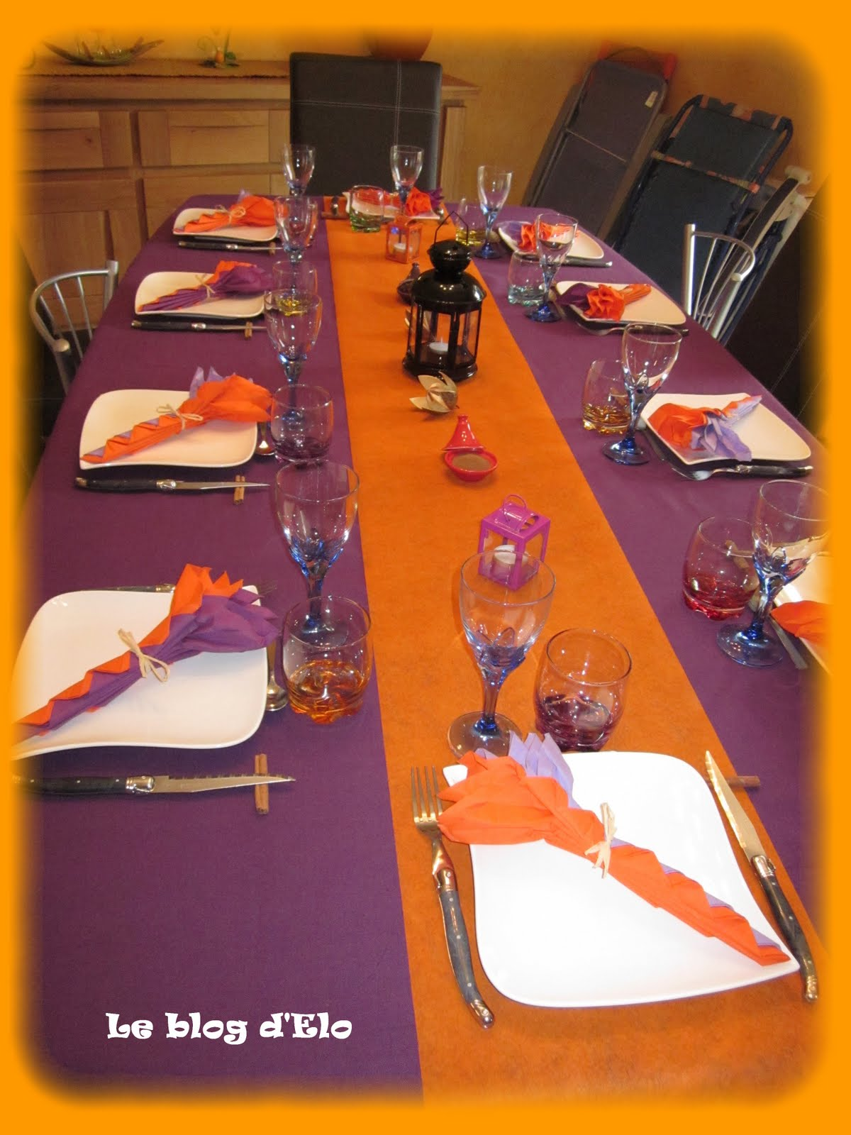 Le blog d 39 elo d co de table orientale violet orange for Decoration de cuisine orientale