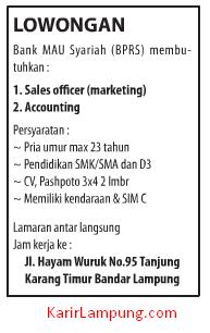 Lowongan Kerja Bank MAU Syariah (BPRS) di Bandar Lampung