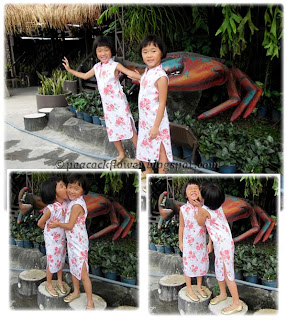 Renice and Renee, posing in front of South Sea Seafood Restaurant, Subang