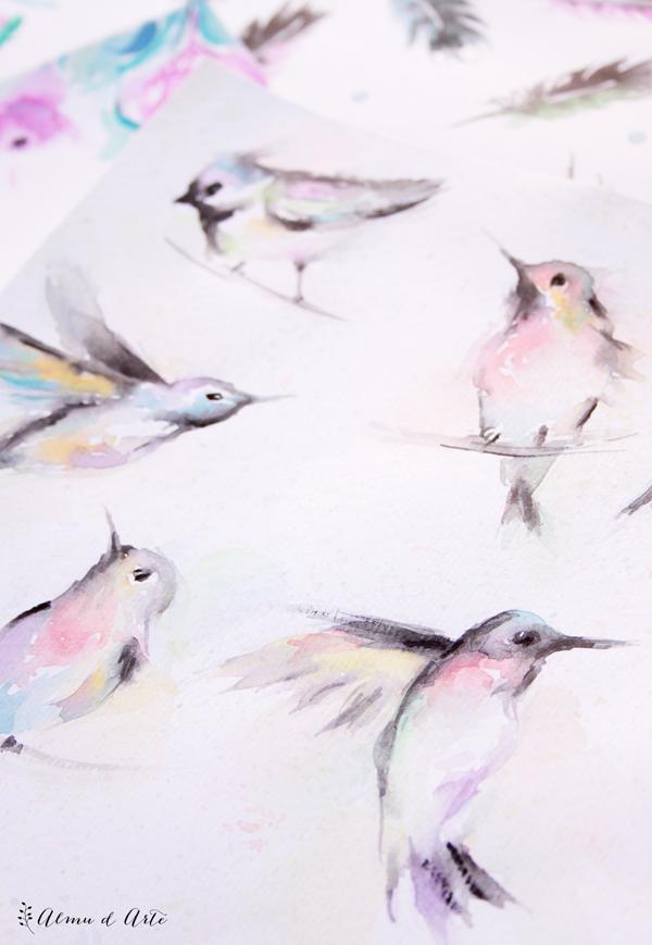Ilustraciones con acuarela pintados a mano