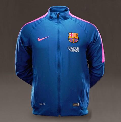 Nike FC Barcelona Squad Sideline Woven Wup - Deep Royal Blue Hyper Pink