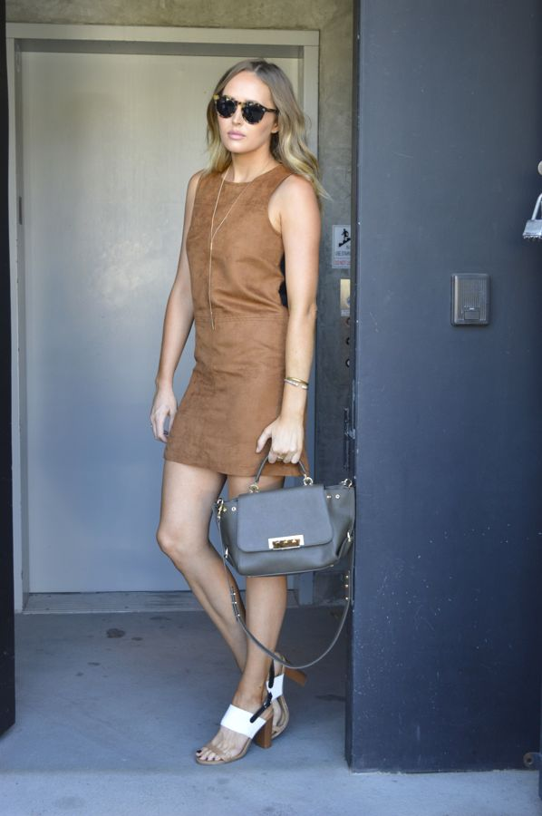 Golden Divine Blog- Ashley Murphy-Los Angeles Fashion Blogger- Sanctuary Clothing Suede Mini Dress-Illesteva Sunglasses-Shoedazzle Heels