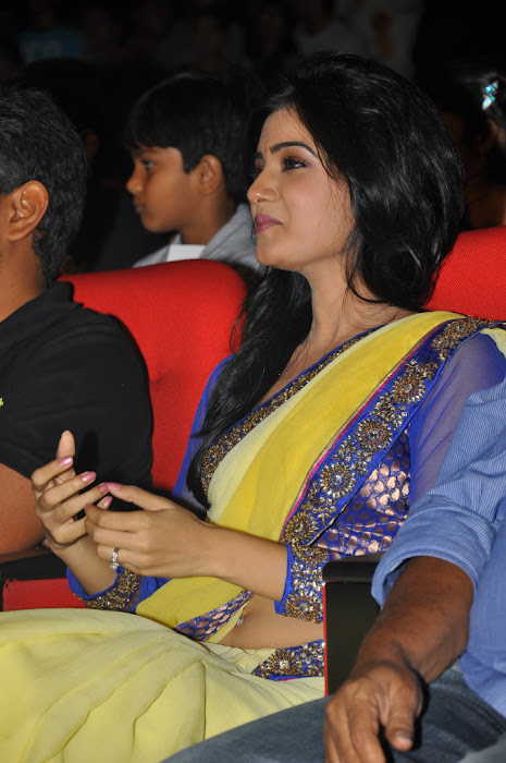 samantha saree at dookudu audio launch, samantha spicy saree photo gallery