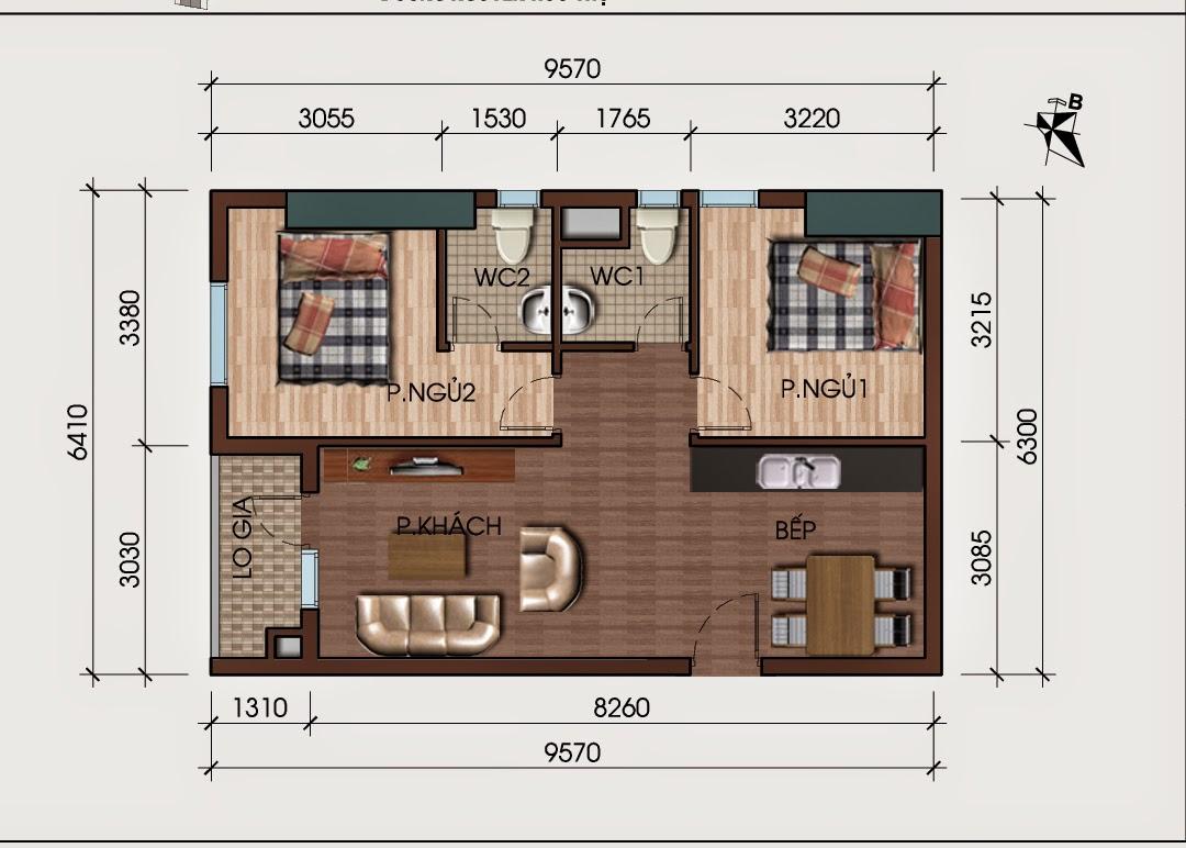 Căn hộ ô góc 2 phòng ngủ chung cư HH3B Linh Đàm Kim Giáp 0904996126
