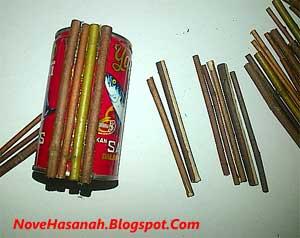 cara membuat kerajinan tangan tempat pensil dari kaleng bekas sarden dan ranting kering