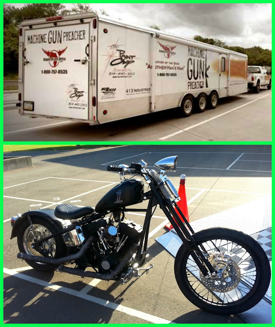 Machine Gun Preacher and the motorcycle from the movie