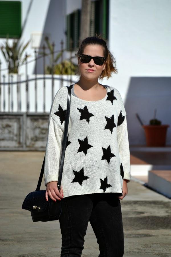 look_outfit_blanco_negro_jersey_estrellas_nudelolablog_02