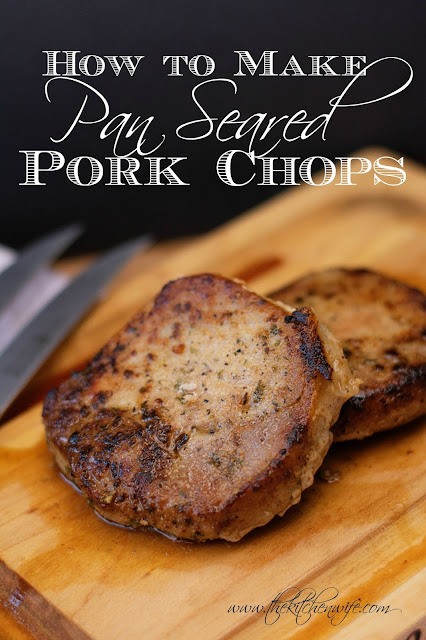 The finished pork chops, on a cutting board, with the title above it.