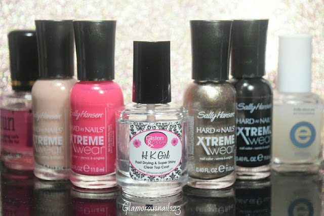 Duri Rejuvacote, Sally Hansen Xtreme Wear Bare It All, Sally Hansen Xtreme Wear Pink Punk, Glisten & Glow HK Girl Fast Drying Top Coat, Sally Hansen Xtreme Wear Coin Flip, Sally Hansen Xtreme Wear Black Out & Essie Matte About You