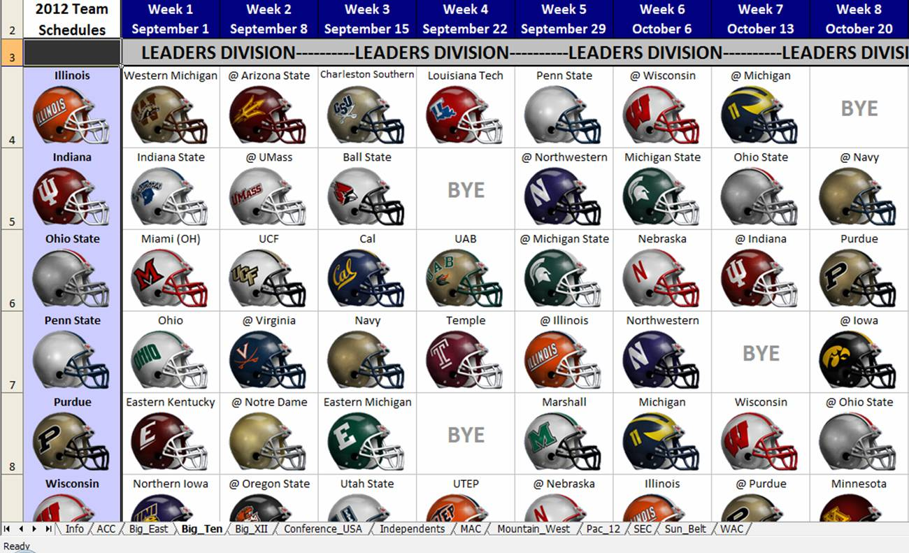 2012 NCAA Football Helmet Schedule