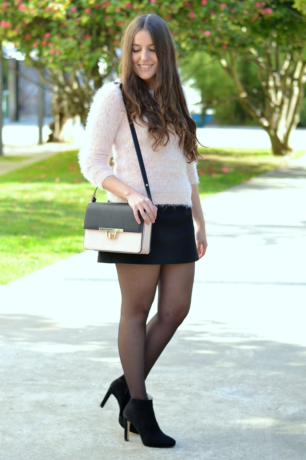 bolso rosa y negro de zara