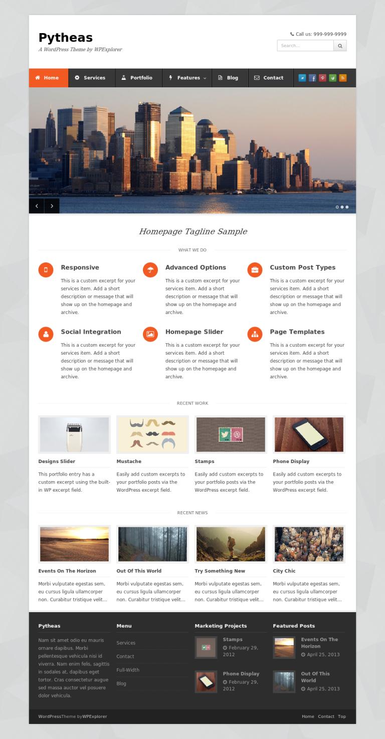 pytheas Free Portfolio WordPress themes 2014