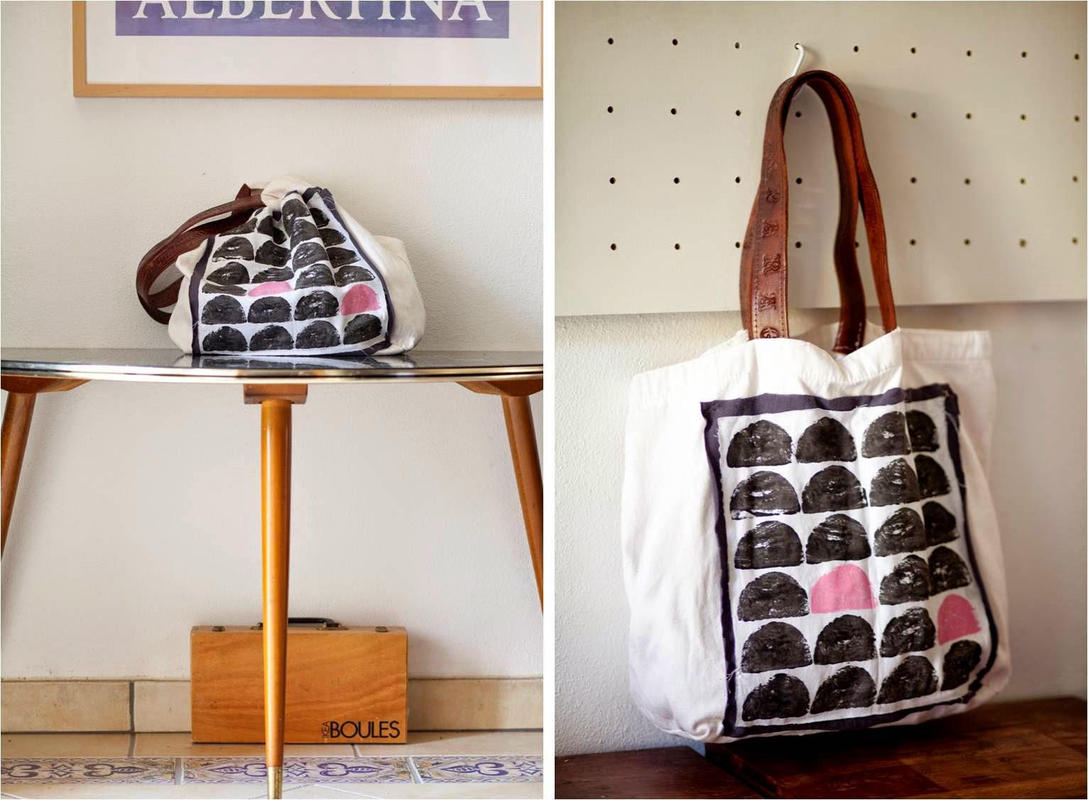 DIY/Inspiration: Eine Stofftasche + Kartoffeldruck + Ledergürtel ...