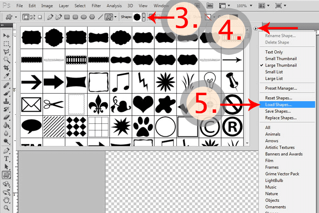 How to install photoshop shapes
