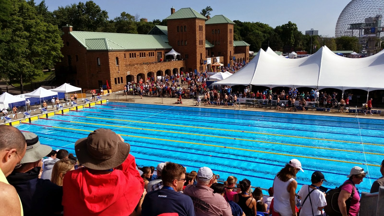 Packed crowds at the main competition pool
